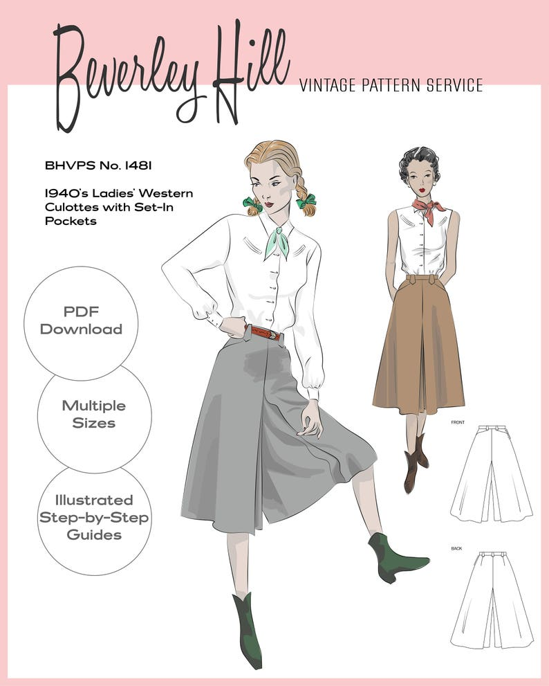 Vintage Western Wear Clothing, Outfit Ideas     Vintage Sewing Pattern Reproduction - Multiple Sizes - 1940s Ladies Western Culottes with Set-In Pockets No.1481 - INSTANT DOWNLOAD PDF $13.72 AT vintagedancer.com