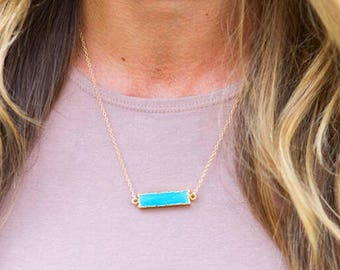 TURQUOISE BAR NECKLACE // Turquoise Stone Necklace - Simple Turquoise Gold Necklace - Layering Necklace - Delicate