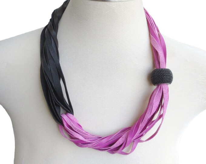 Asymmetrical Strand Leather Necklace in Black and Pink