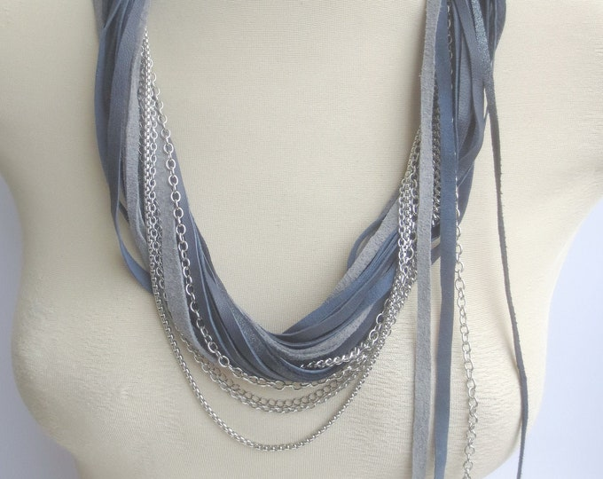 Grey and Navy Leather and Silver Chain Statement Necklace