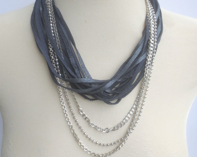 Metallic Navy Leather Statement Necklace, Leather and Silver Chains Necklace for Women, Long String Necklace