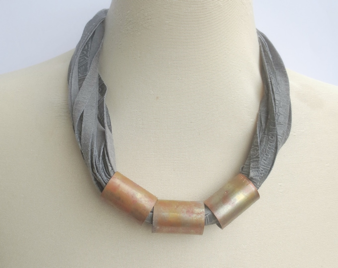 Grey Leather and Copper Necklace