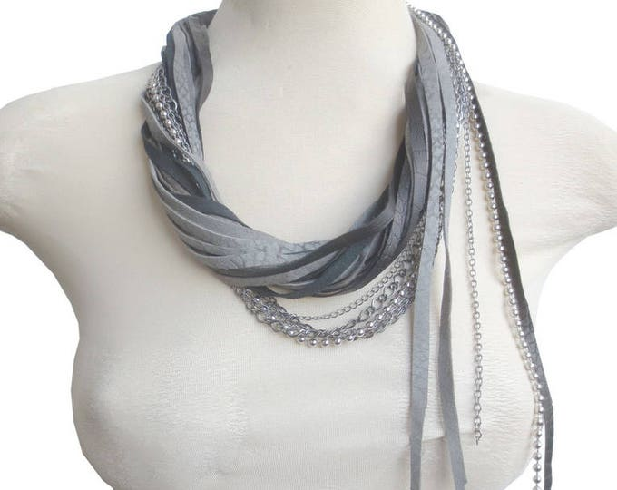 Grey Black String Leather Statement Necklace with Chains