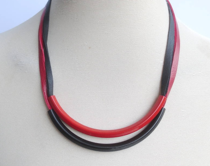 Black Red Double Tube Leather Bib Necklace