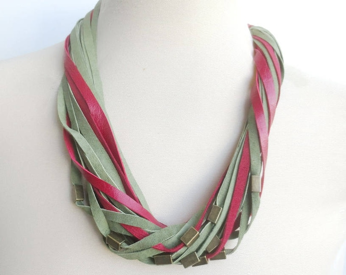 Red and Green Beaded Leather Necklace