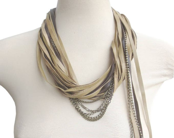 Multi Strand Statement Leather and Chain Necklace