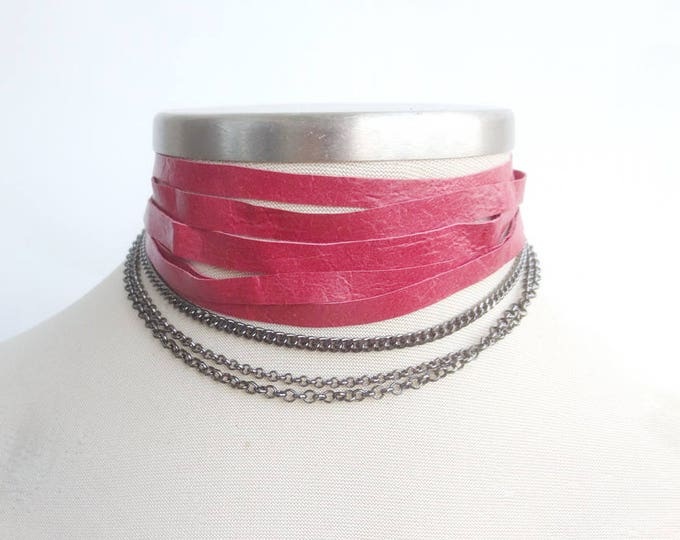 Red Multi Strand Leather with Chain Choker and Bracelet
