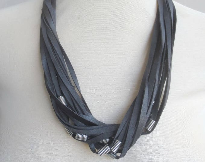 Black Leather Necklace Silver Tube Beads, Strand Statement Necklace,Leather Jewelry