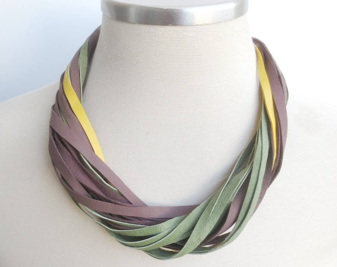 String Leather Necklace in Brown Green and Yellow