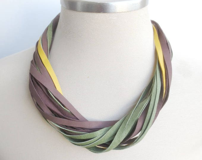 Multi Strand Leather Bib Necklace in Brown, Green and Yellow