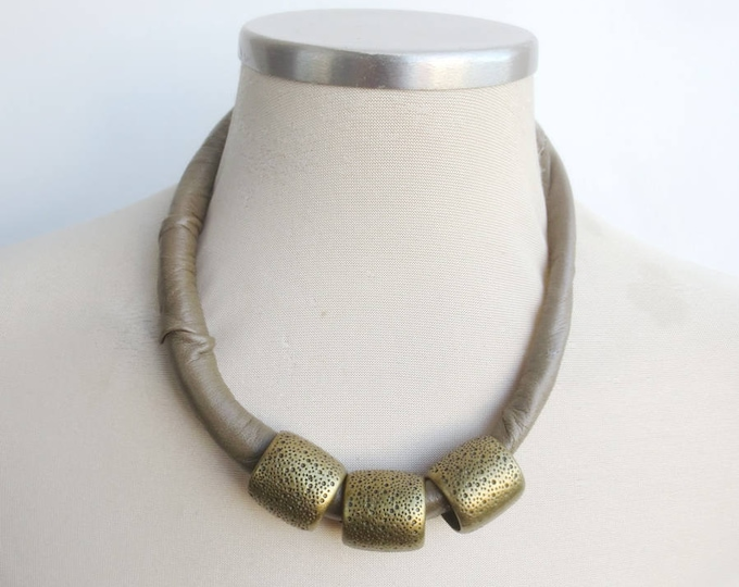 Olive Green and Brass African Leather Necklace