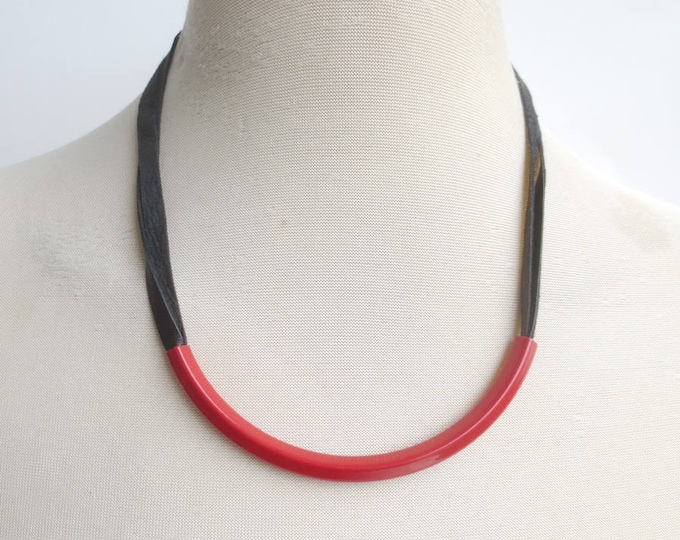 Minimalist Black Leather Red Tube Necklace