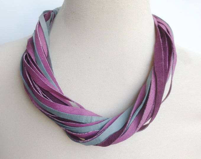 Purple Teal  Multi Strand Leather Necklace