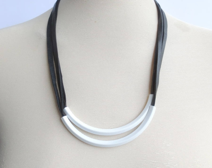 Double White Tube Tribal Leather Necklace