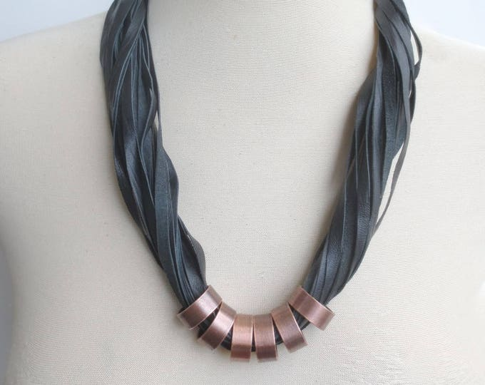Black Leather Statement Necklace with Copper Rings