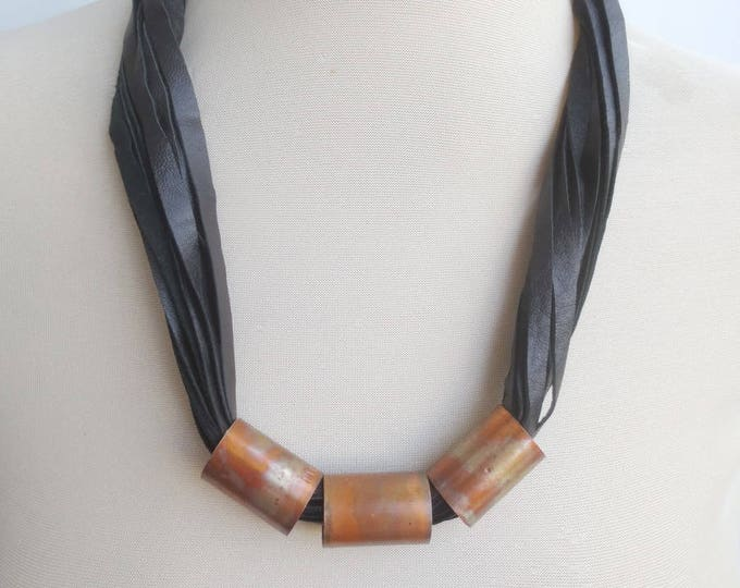 Black Leather Statement Necklace with  Copper Spacers