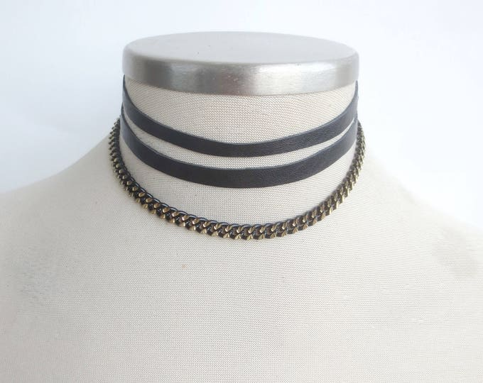 Black Leather Choker Necklace with Black Brass Chain
