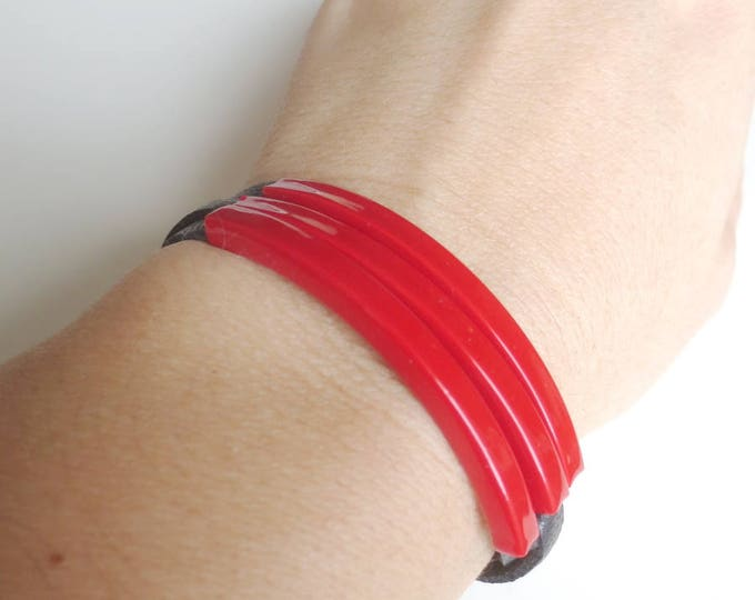 Triple Red Tube Black Leather Bracelet
