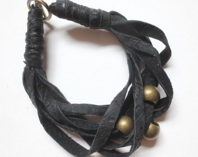 Black Leather Bracelet with Brass Beads, Handmade Jewelry