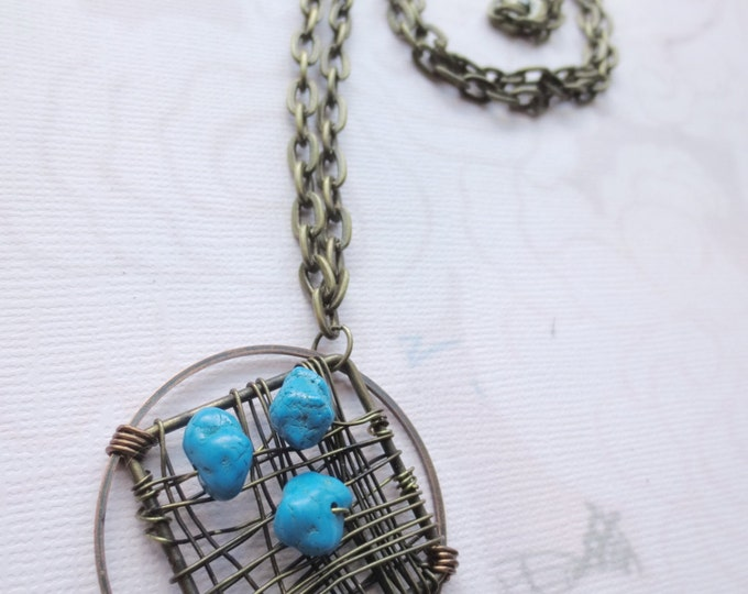 Wire Wrapped Pendant Necklace, Brass Copper Turquoise Bead, Wire Jewelry