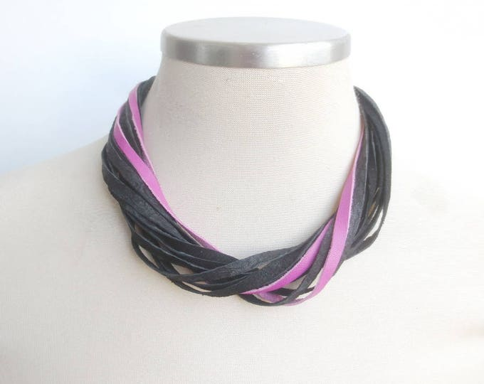 Simple Black Pink Leather Necklace, String Bib Statement Necklace, Contemporary Leather Jewelry for Women