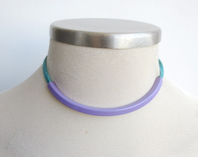 Minimalist Simple Leather Choker Necklace in Lilac and Turquoise, Leather Jewelry for Women, Metal and Leather Colorful Tube Necklace