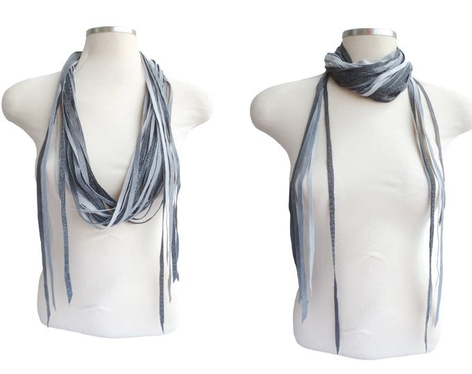 Versatile Layered Grey Leather Scarf, Statement Necklace and Belt