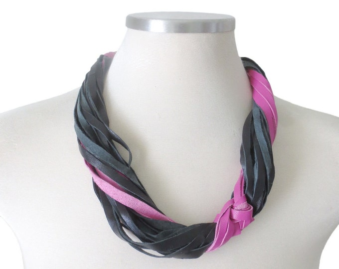 Pink and Black Leather Statement Necklace
