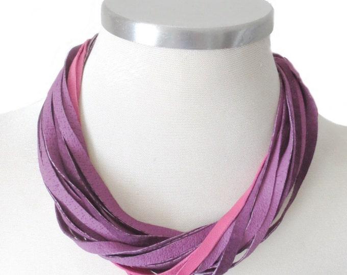 Violet Pink Leather Bib Necklace