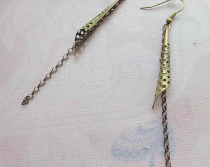 Minimalist Brass Cone Earrings with Copper Chain, Dangle Chain Earrings, Brass Jewelry