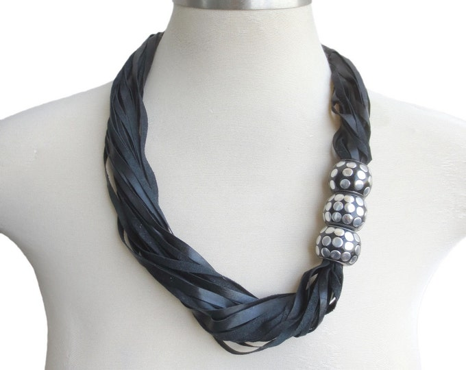 Black Leather String Necklace with Large Beads