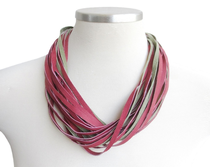 Multi- Strand Red and Green Suede Leather Necklace