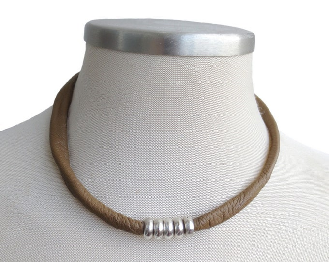 Simple Brown Tube Necklace with Silver Beads