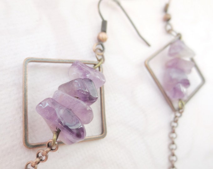 Dangle Copper Earrings with Square Loops and Purple Quartz