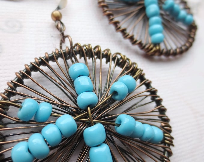 Blue and Copper Round Wire Earrings