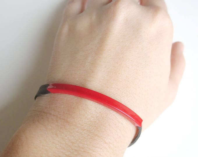 Black and Red Tube Bracelet