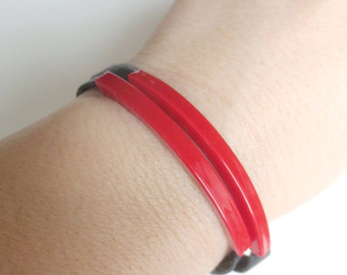 Double Red Tube and Black Leather Bracelet