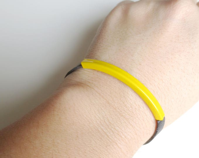 Minimalist Yellow Tube Black Leather Bracelet