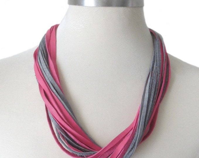 Leather Necklace, Pink and Grey Leather Bib Necklace, Leather Jewelry for Women, String Leather Wrap, Everyday Necklace