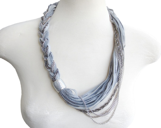 Leather Statement Necklace Braided Suede Leather Multi Strand Grey and Silver Necklace Fashion Leather Jewelry for Women