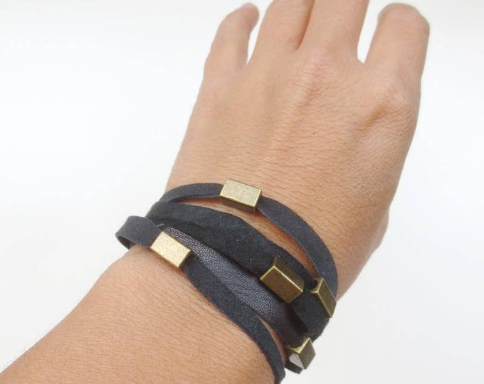 Layered Beaded Black Leather and Brass Bracelet