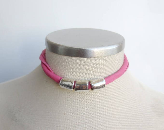 Pink Leather Tube Necklace & Bracelet, Fuchsia and Silver Choker, Leather Jewelry,  Statement Choker Necklace