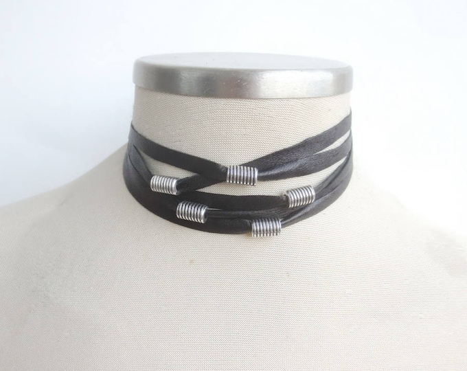 Black and Silver Multi Strand Leather Choker