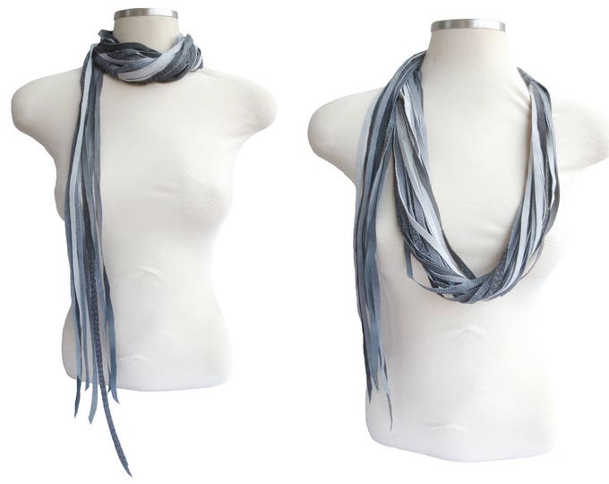 Long Grey Leather Scarf, Necklace and Belt