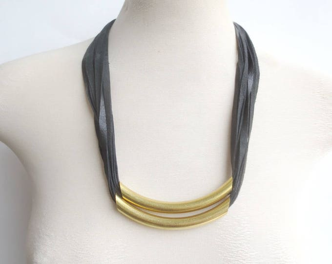 Double Brass Bar and Leather Necklace