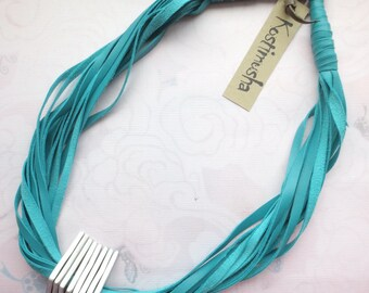 Leather Statement Necklace, Turquoise & Aluminum Spacers, Teal String Necklace, Leather Jewelry