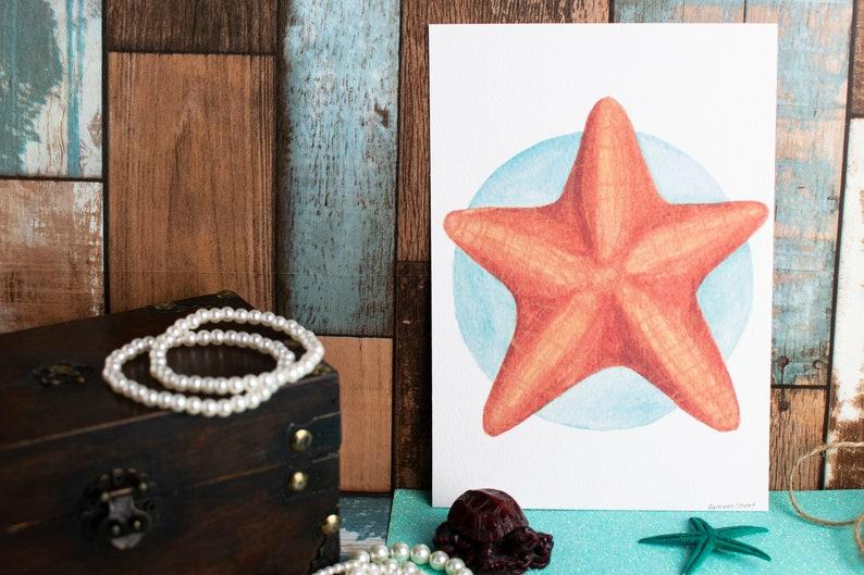 Marine Animals Print A5 Art Print Art by Kathleen Stuart Textured Paper Starfish