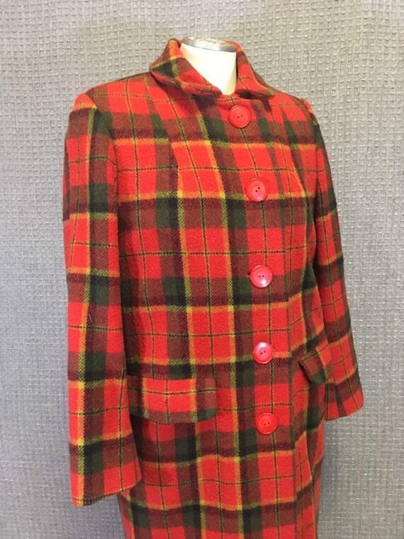 1960s Coat Vintage Mod Tartan Plaid Wool Overcoat,