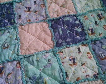 CLEARANCE - Peter Pan - Neverland Rag Quilt -  Toddler/Child size - Ready to Ship