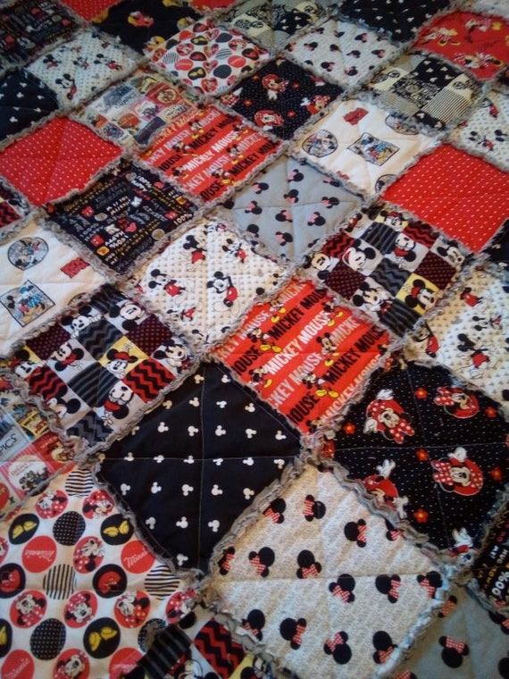 Mickey Mouse Crib Size Rag Quilt